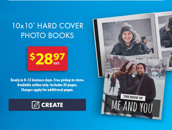 "10x10"" Hard Cover Photo Books - $28.97 each. Ready in 8–12 business days. Free pickup in-store. Available online only. Includes 20 pages. Charges apply for additional pages. Create."