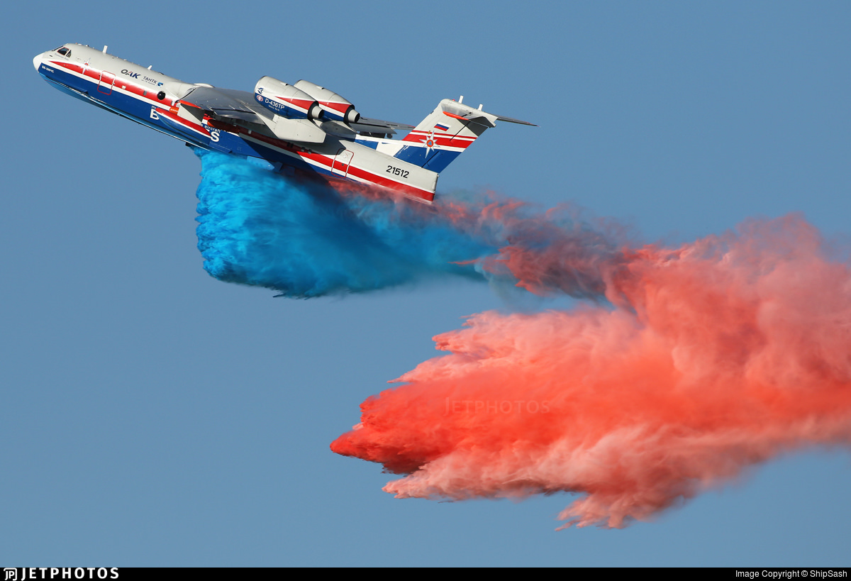 Discharge of color water during a Beriev Be-200ChS demonstration flight at MAKS 2019