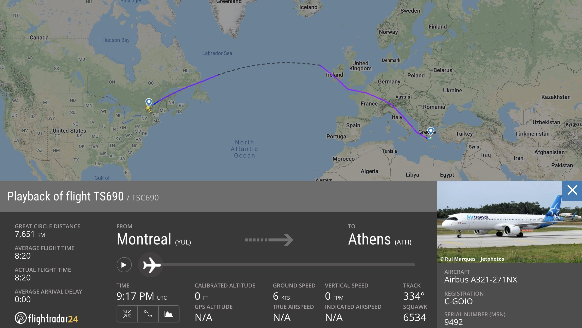 Montreal to Athens on the A321neoLR
