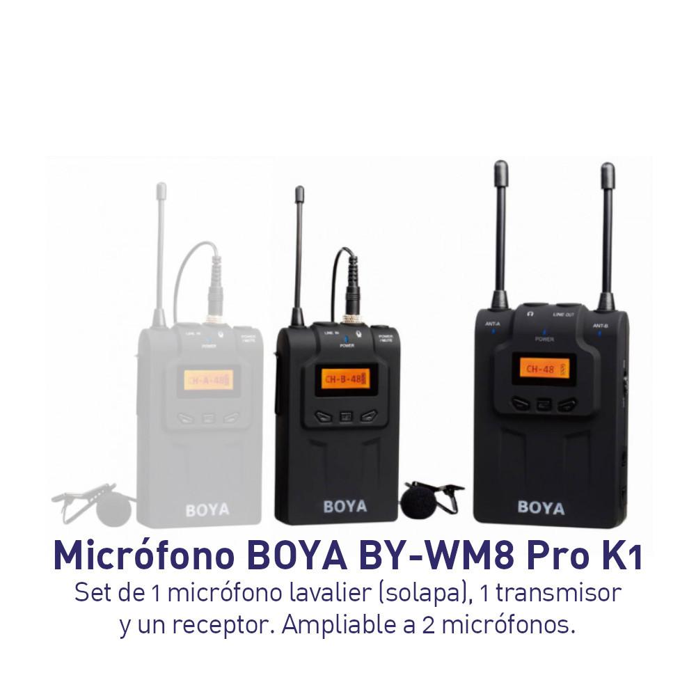 Micrófono BOYA BY-WM8 PRO-K1 Incluye 1 micrófonos Lavalier Inalámbrico sistema ampliable a 2 micrófonos