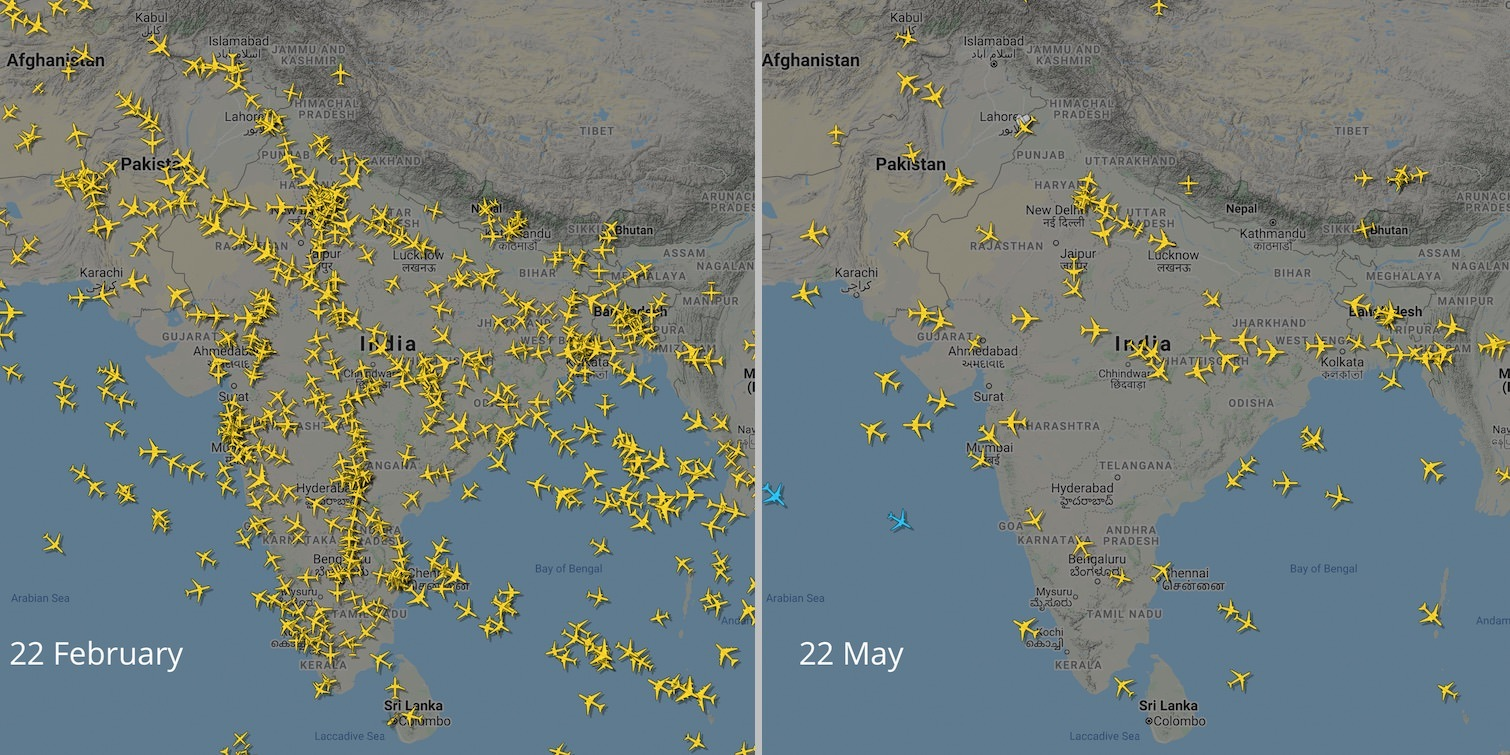 Flights over India on 22 February and 22 May