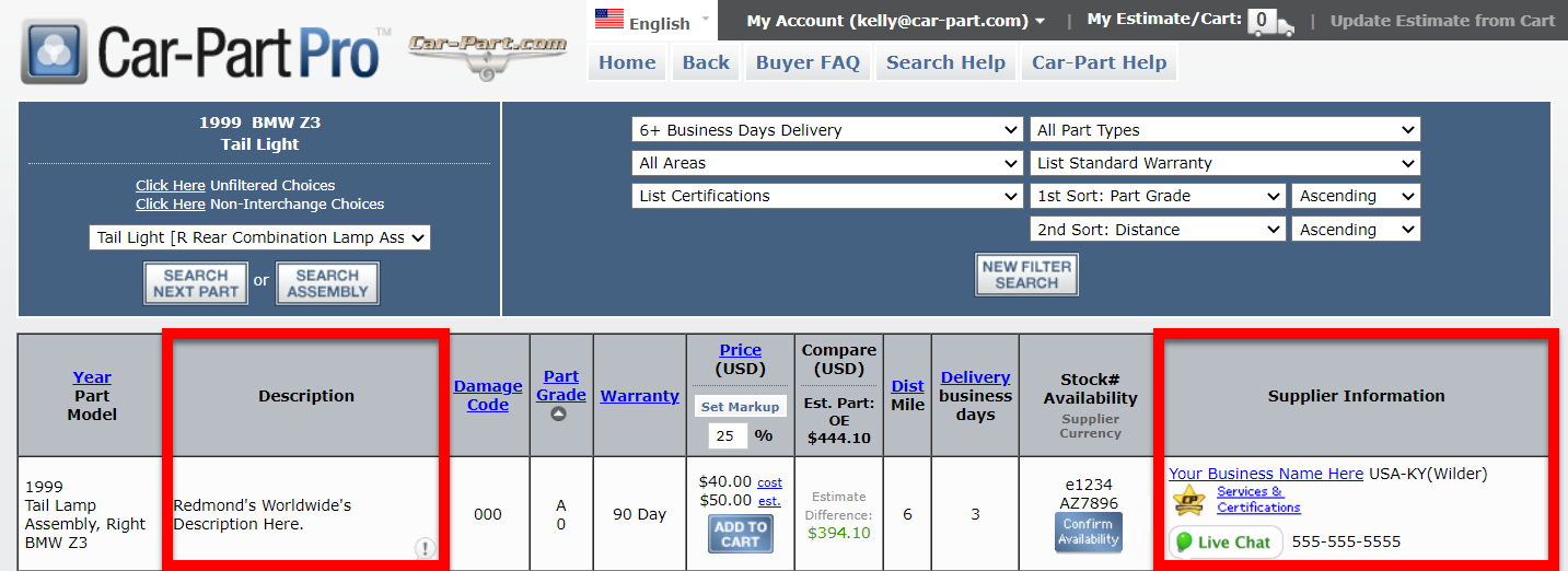Car Part Pro search results screen, with a listing for a part brokered from Redmond's Worldwide