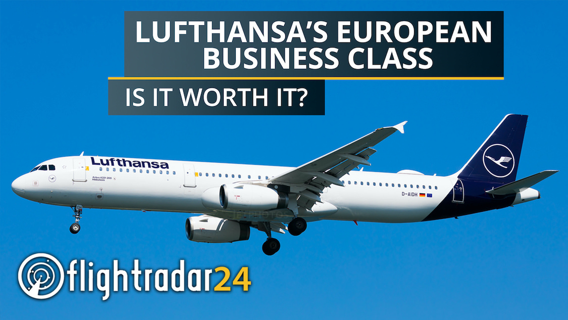 """Title card: """"Lufthansa's European Business Class: Is it worth it?"""" set over an image of a Lufthansa A321."""
