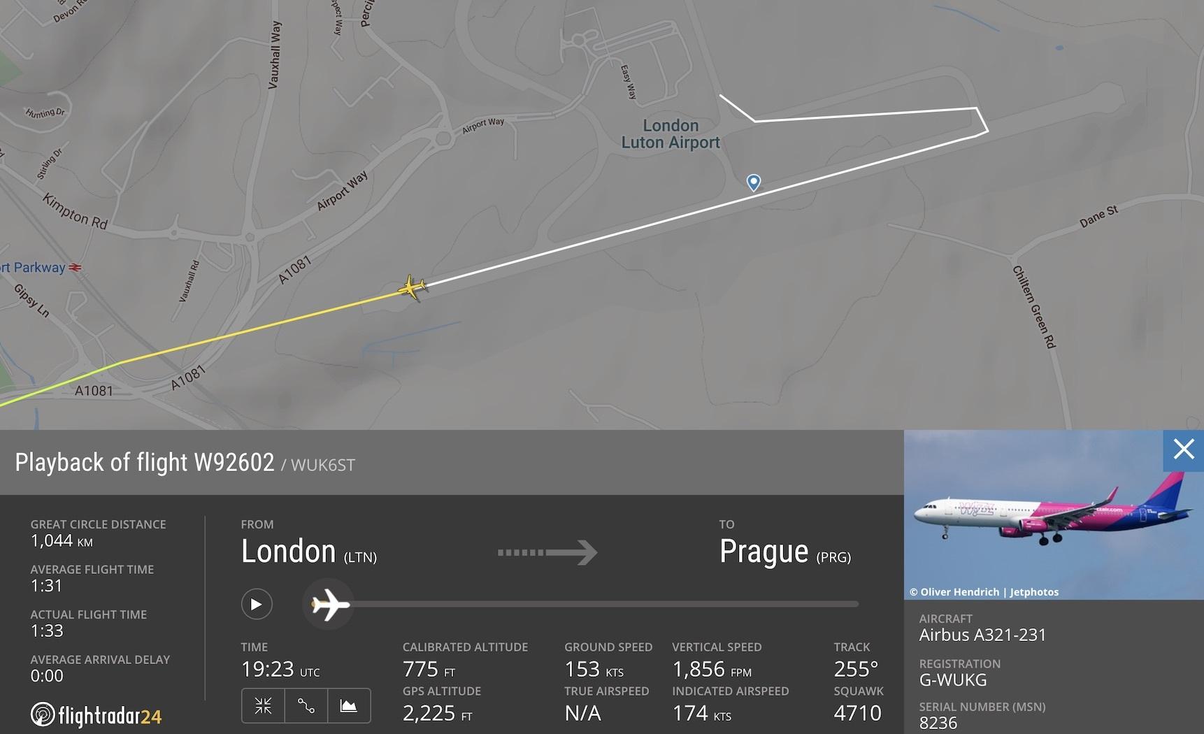Wizz Air A321 departing Luton