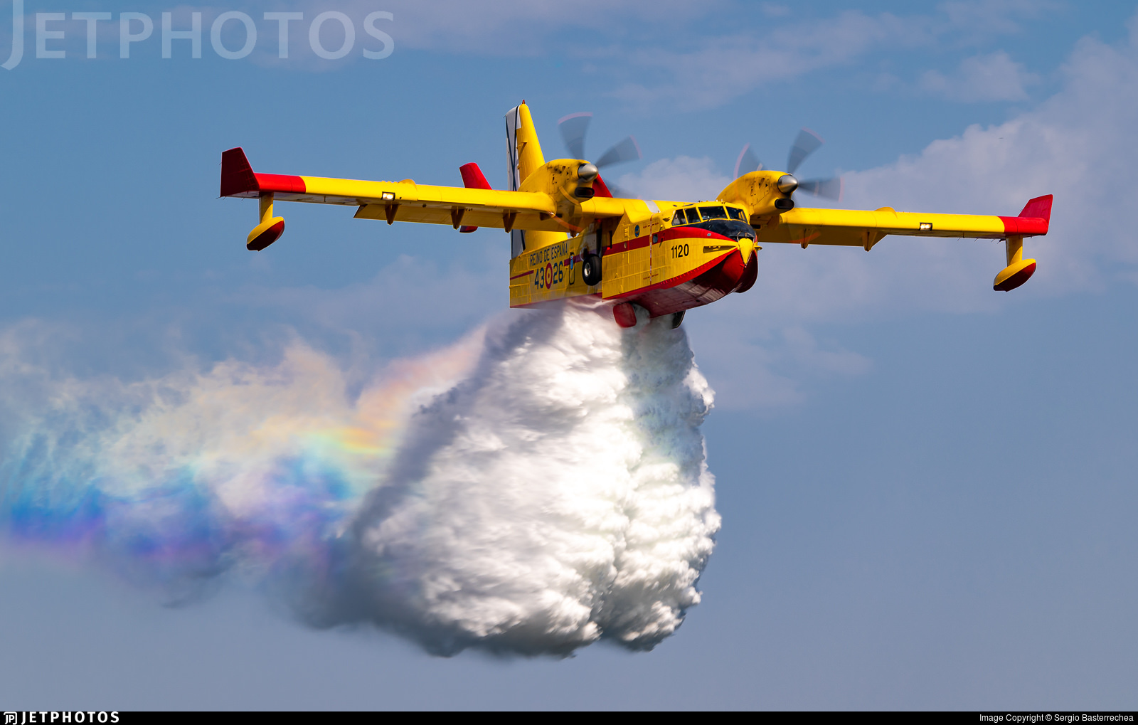 A Spanish Air Force CL-215 practicing a water drop for the upcoming fire season