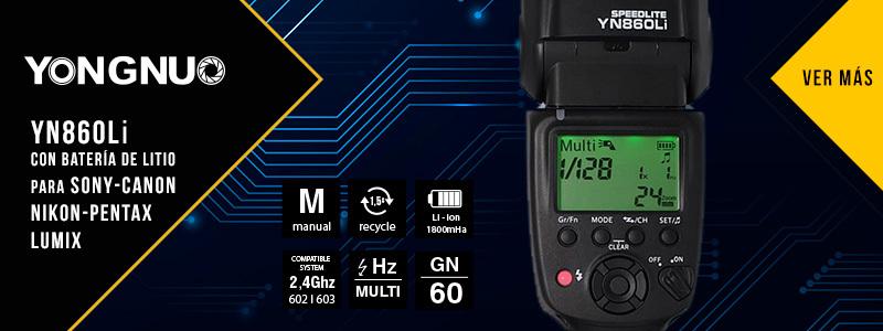 YN860Li con Batería de Litio para Sony, Canon, Nikon, Pentax y Lumix
