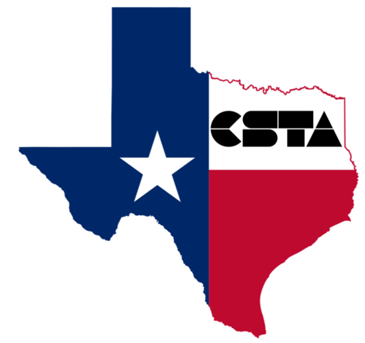 Texas with the CSTA Logo