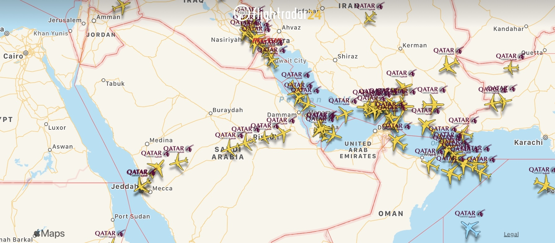 Qatar Airways flights over Saudi Arabian airspace