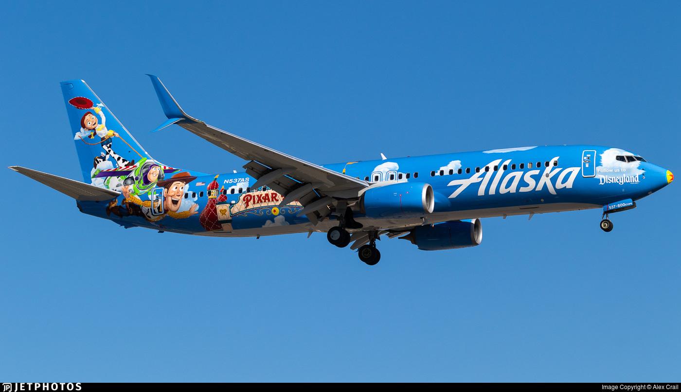 Alaska Airlines' new Pixar Pier 737