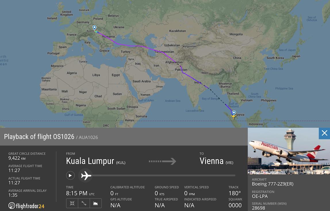 An Austrian Airlines repatriation flight