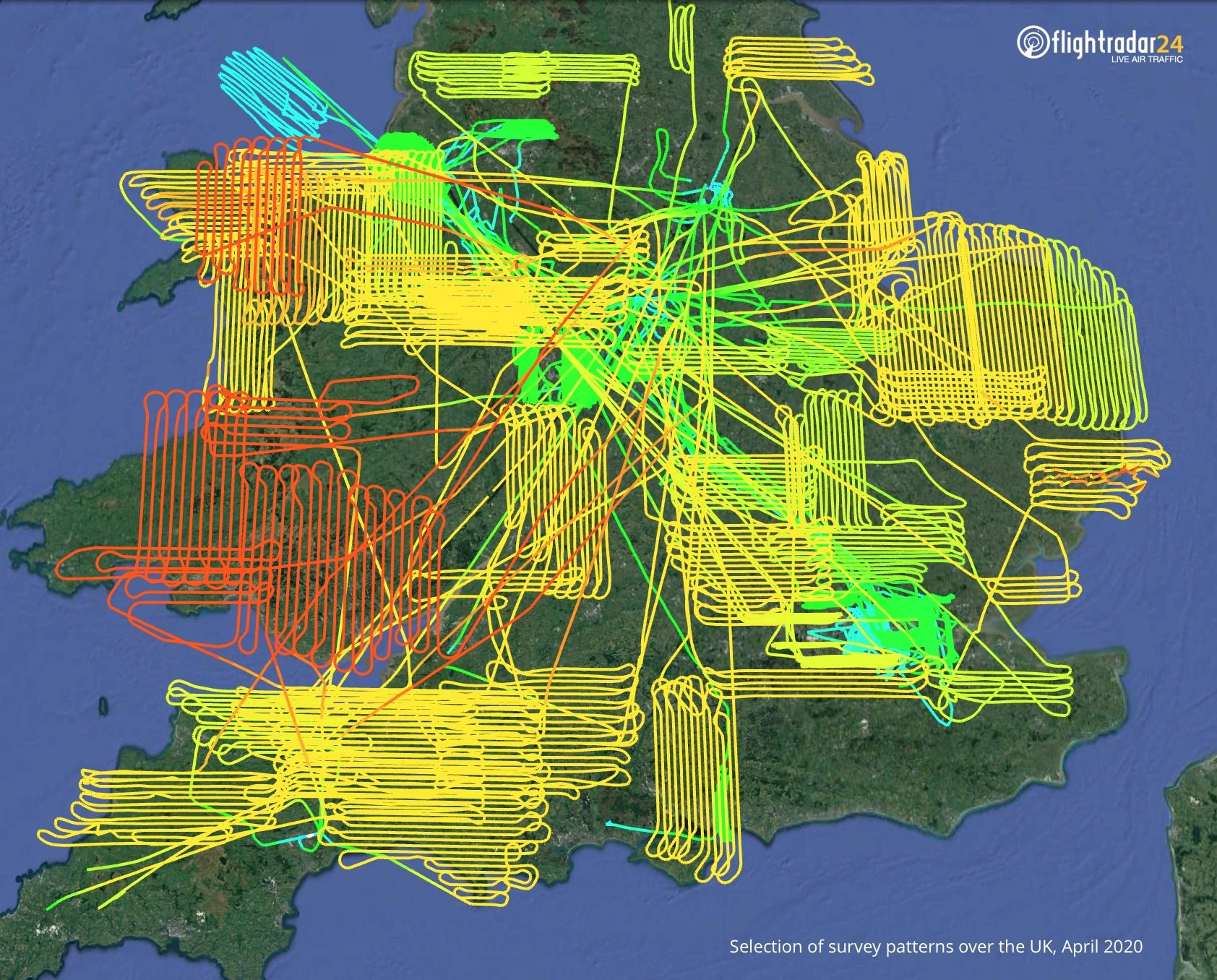 Compilation of survey flight paths over the UK in April 2020