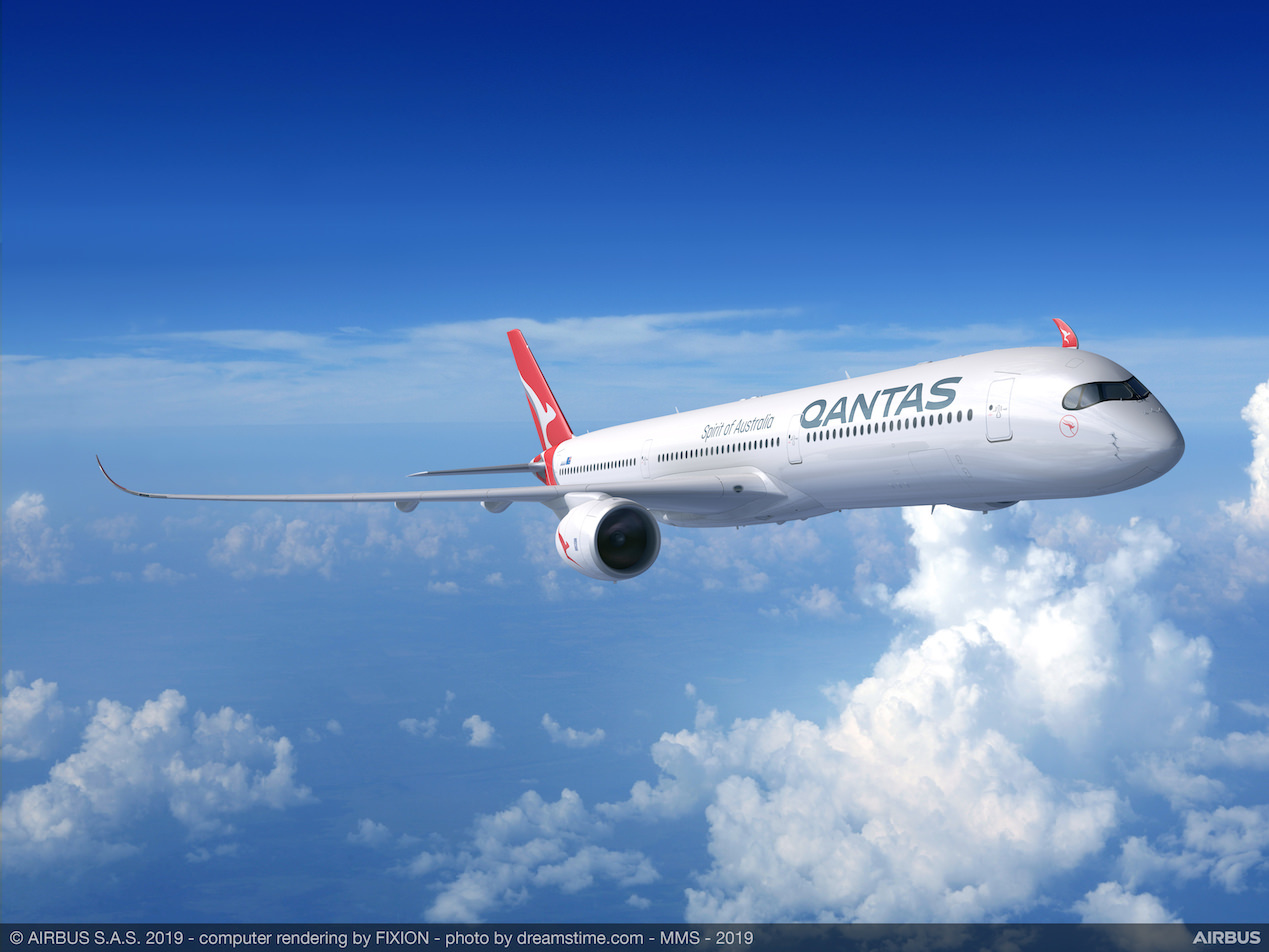 A rendering of an A350 in Qantas livery