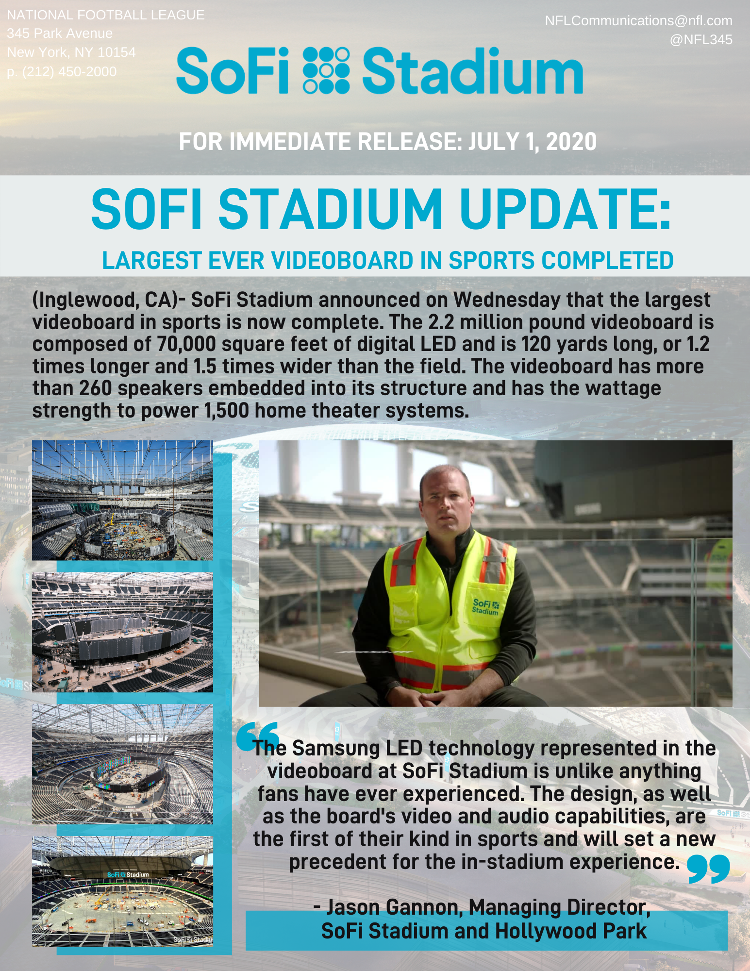 SoFi Stadium Update: Largest Ever Videoboard in Sports Completed