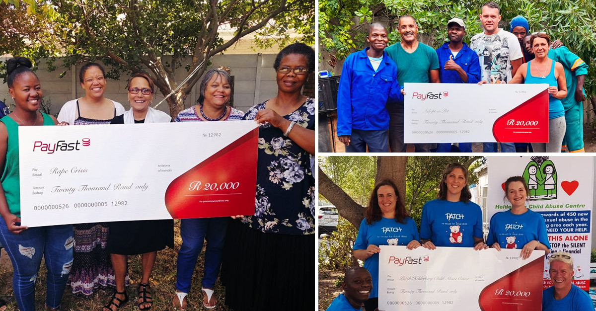 PayFast donates to Rape Crisis, Adopt a Pet and PATCH