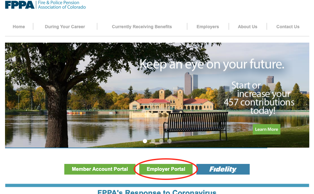 FPPA homepage, with Employer Portal button circled