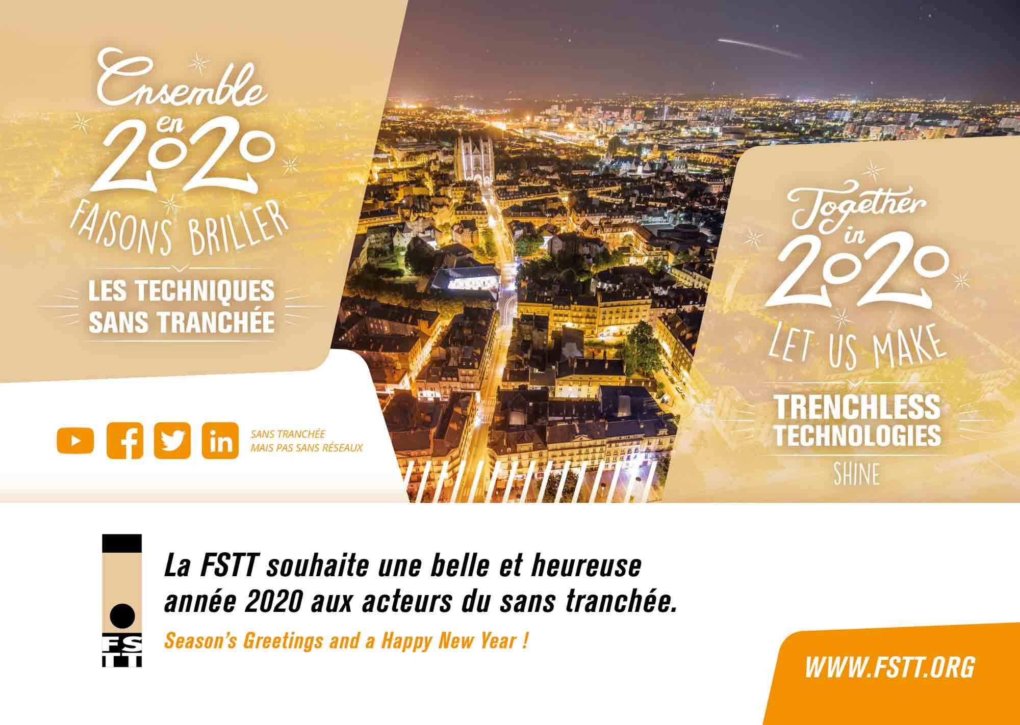 La FSTT souhaite une belle et heureuse année 2020 aux acteurs du sans tranchée