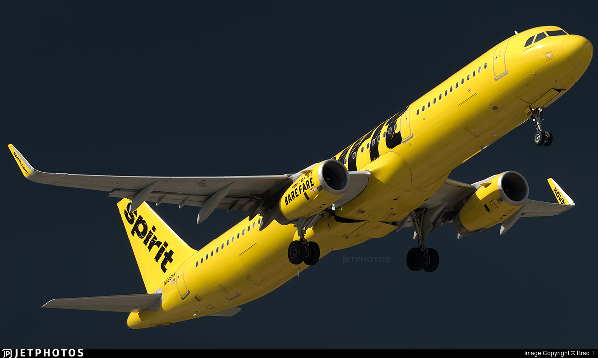A Spirit Airlines A321 departing Houston