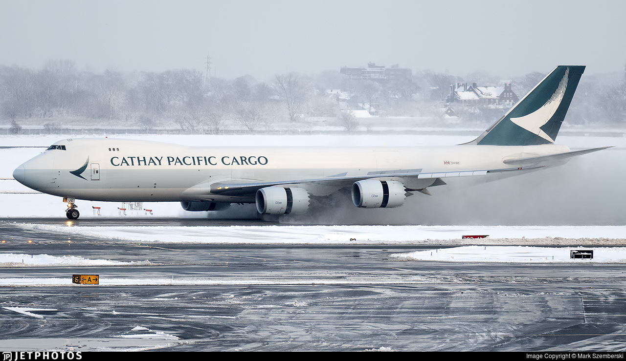 A Cathay Pacific Cargo 747 landing in New York.
