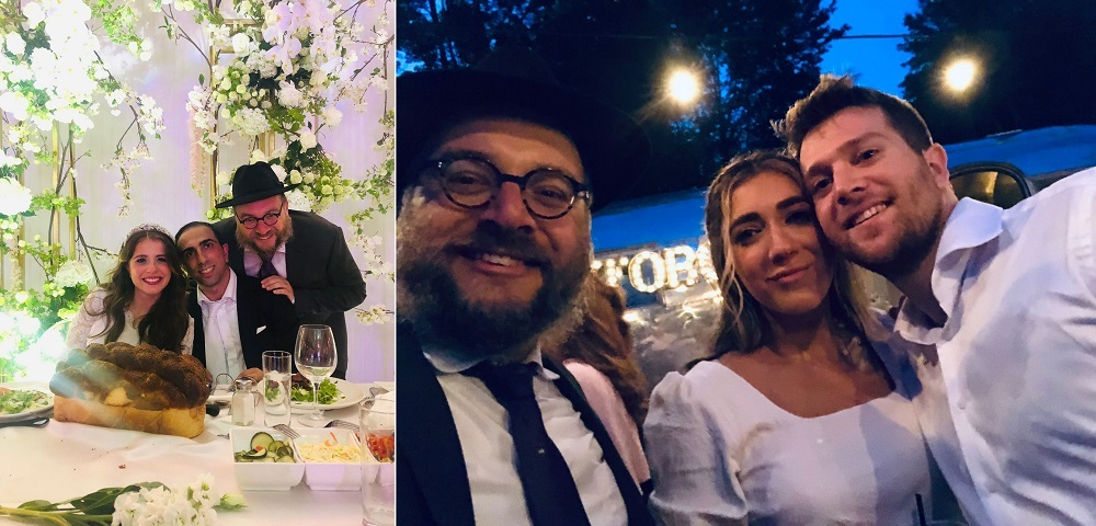 Rabbi Olver with bride and groom and Eisenberg and Ozeri weddings