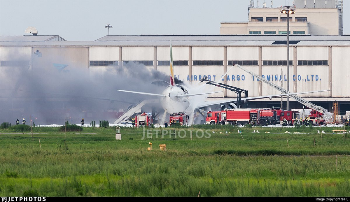 Ethiopian 777F ET-ARH on fire