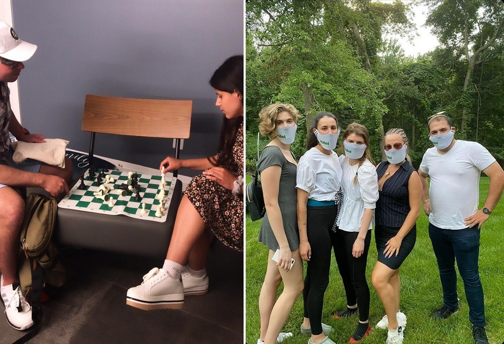 playing chess and group wearing Hillel masks