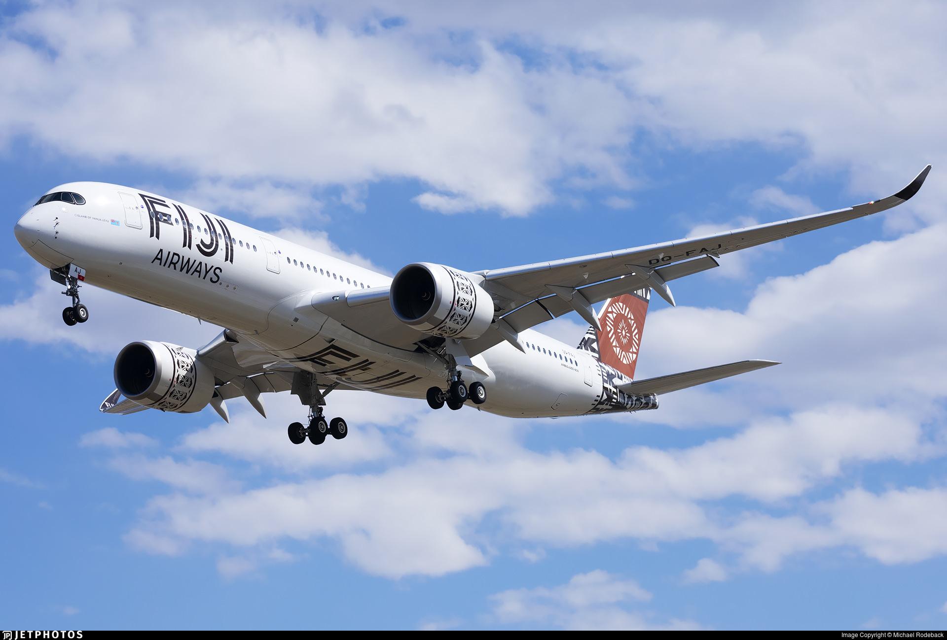 Fiji Airways A350 landing in Salt Lake City