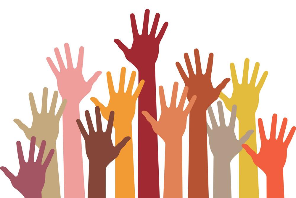 Image of raised hands