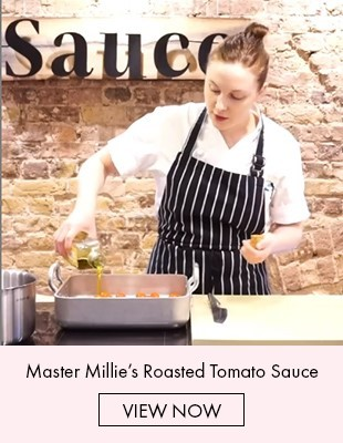 Langham London chef making tomato sauce