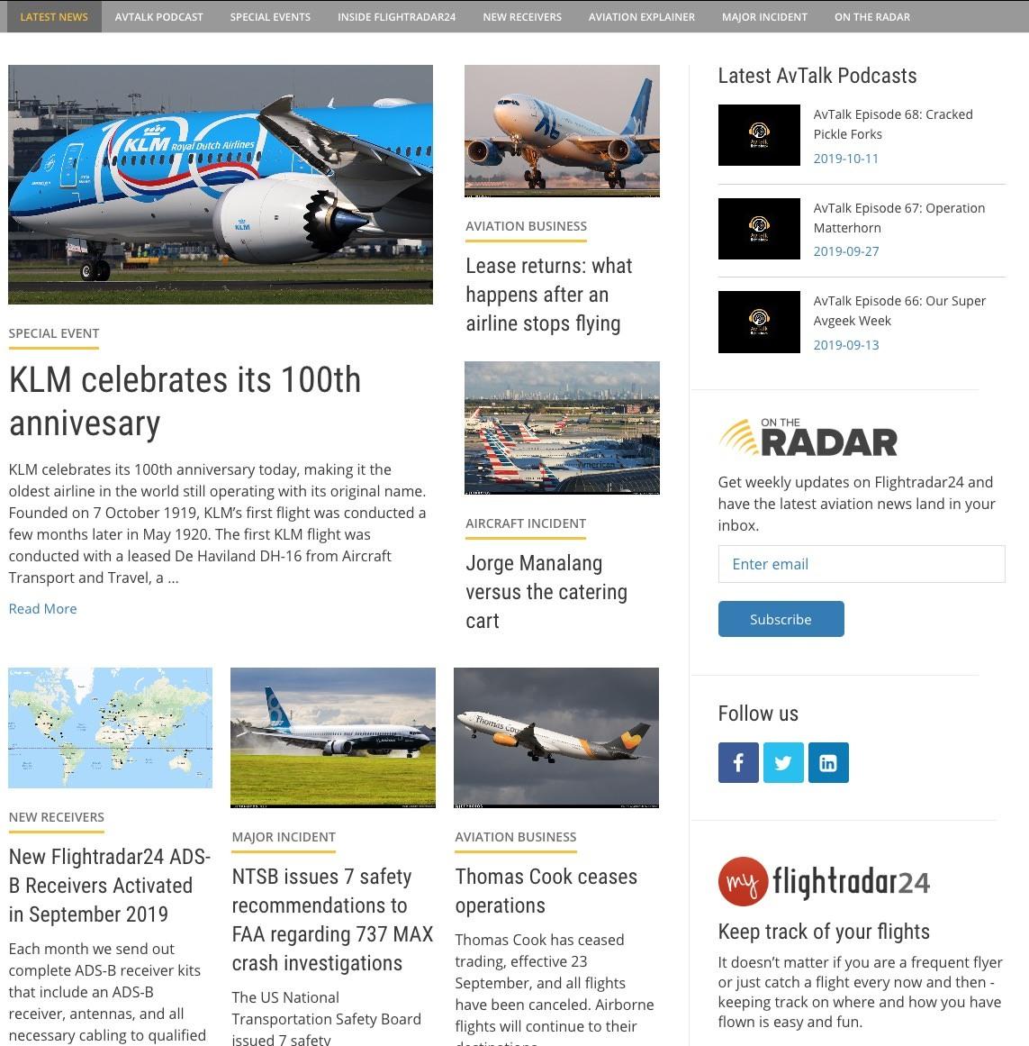 Updated Flightradar24 blog home page