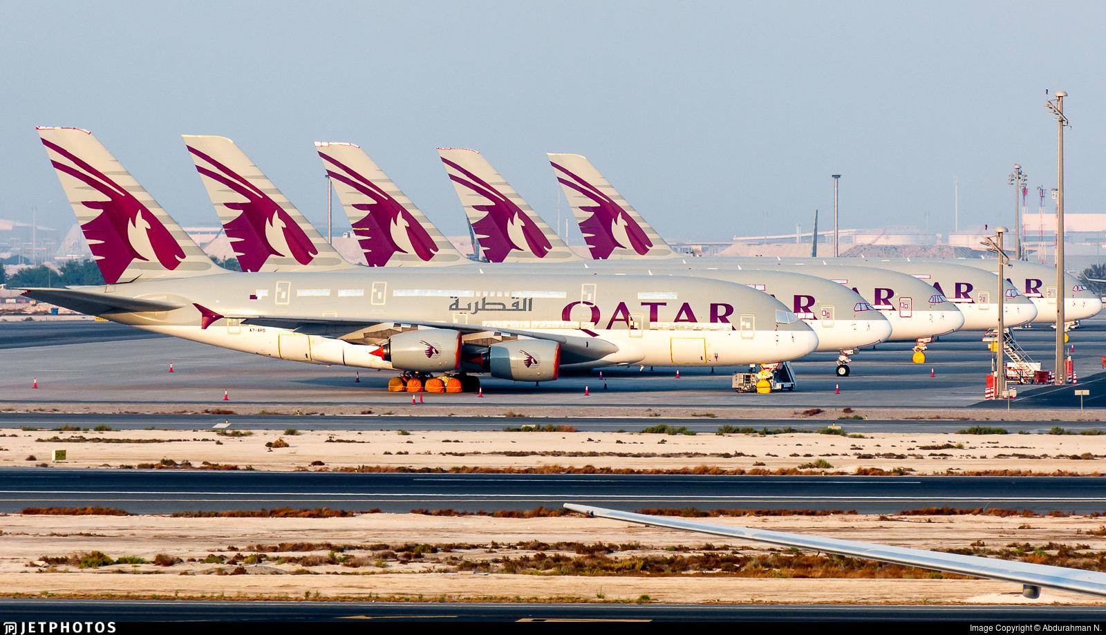 5 Qatar Airways A380s sit in storage