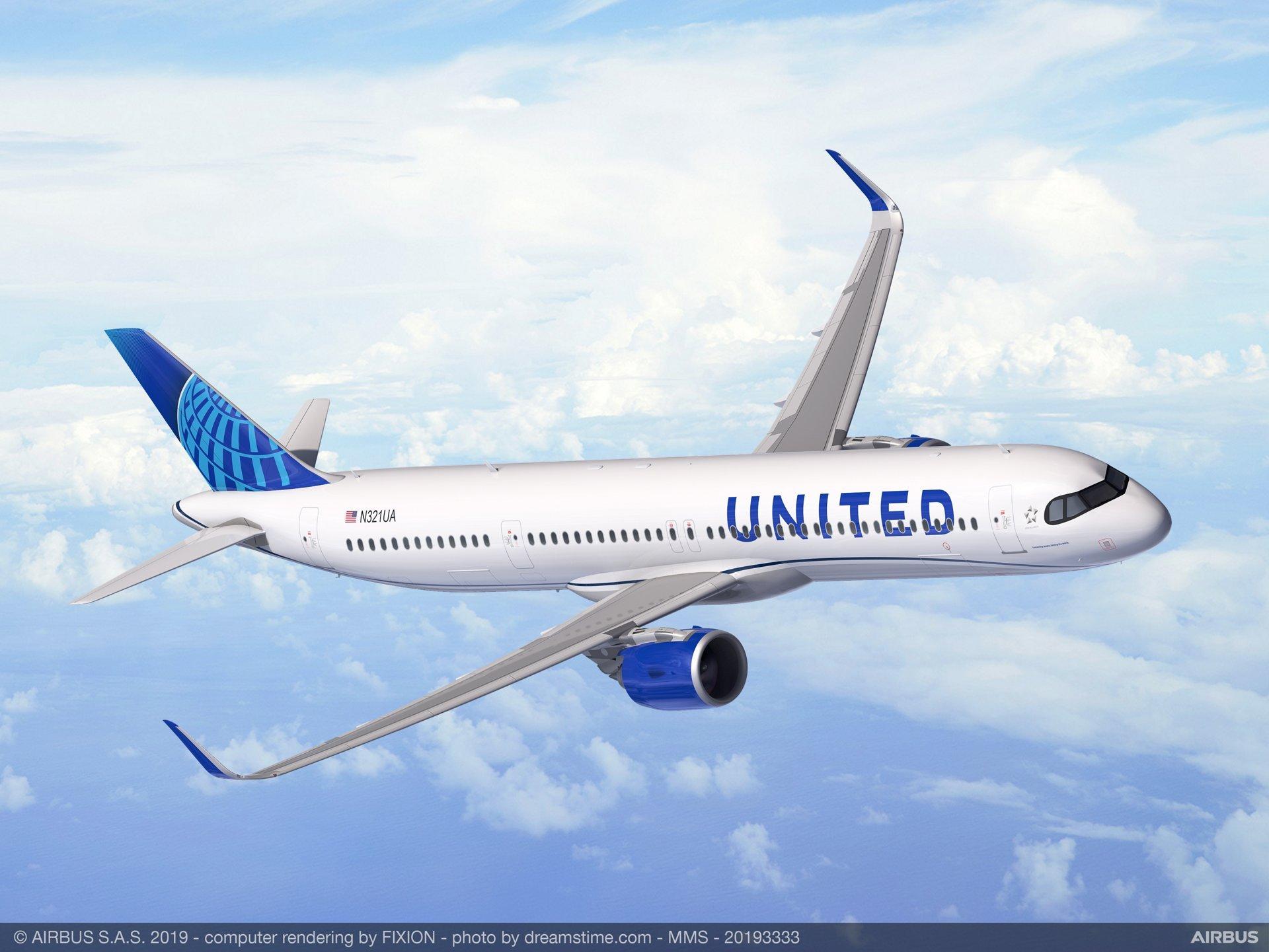 Redering of United A321XLR