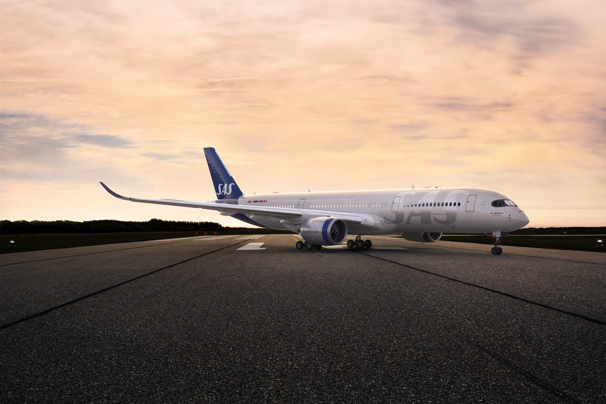 SAS A350 in new livery