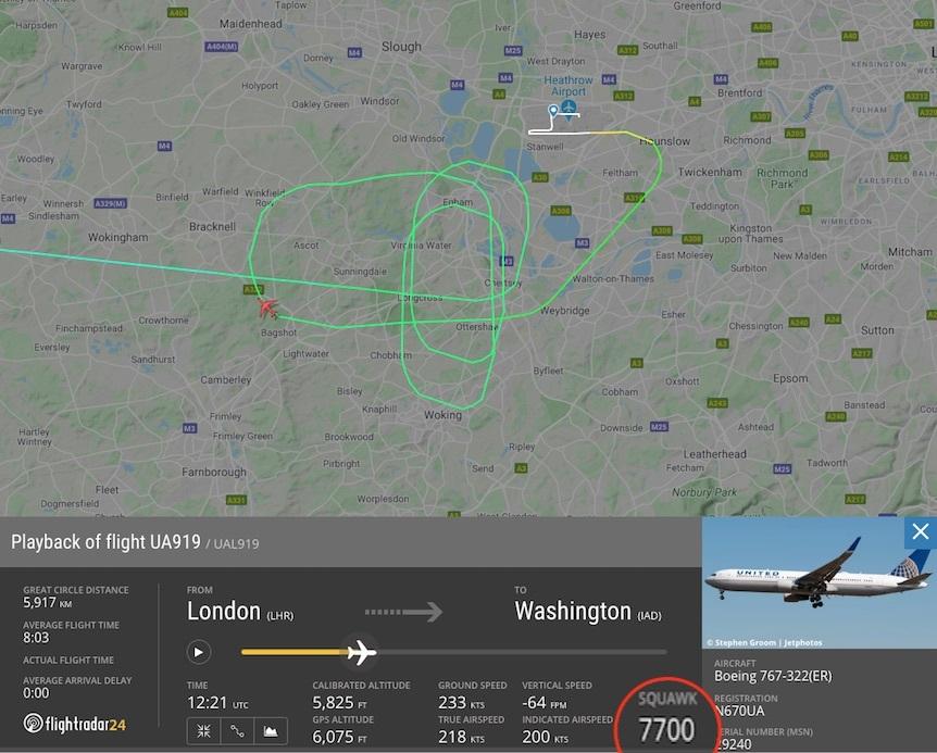 Squawking 7700 aircraft