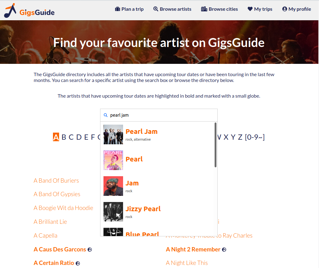search touring artists on GigsGuide