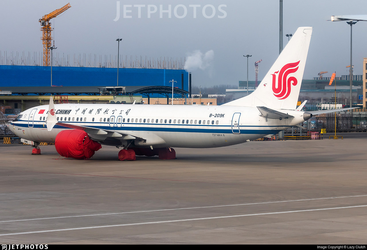 An Air China 737 MAX 8 in storage