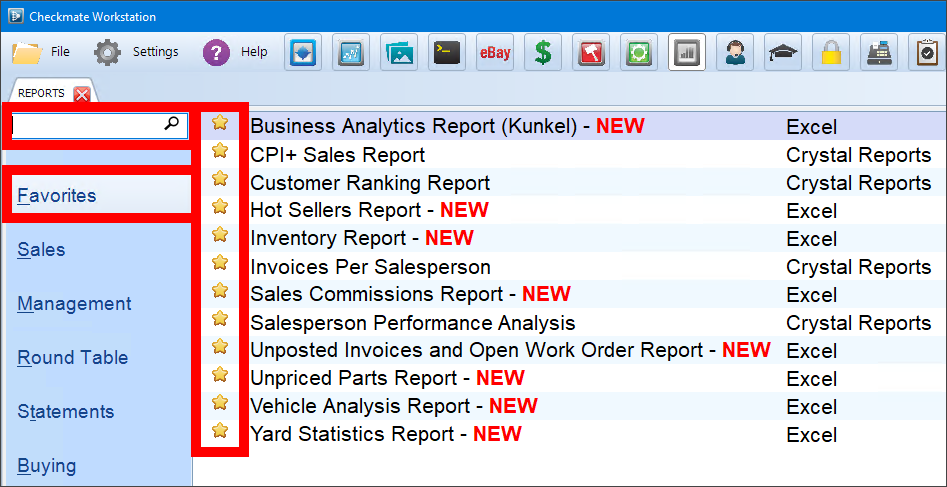 Screenshot of the Checkmate Reports interface, with the search bar, Favorites tab, and favorites stars highlighted