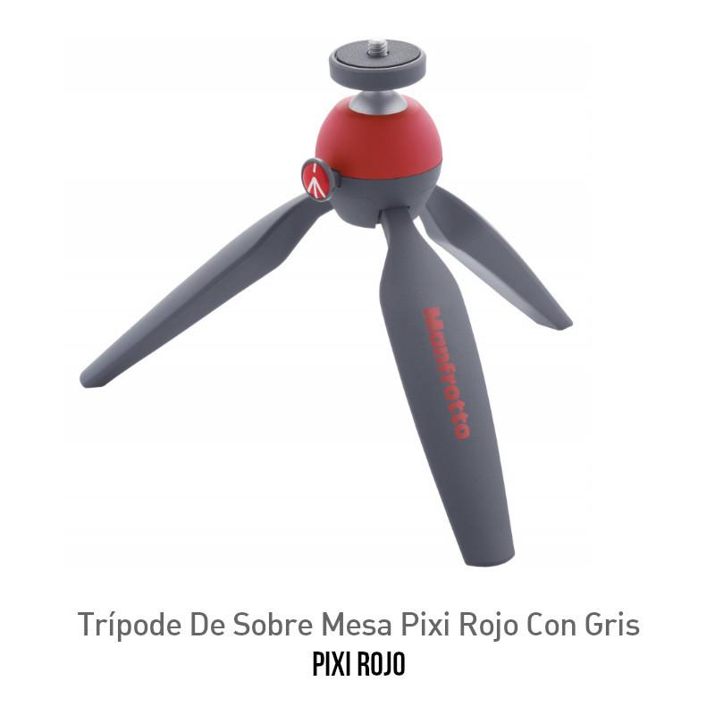 Trípode De Sobre Mesa Manfrotto Pixi Rojo Con Gris