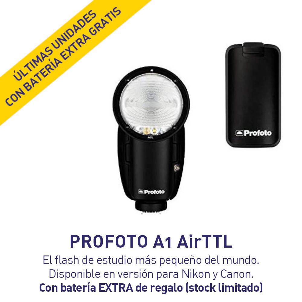 Profoto A1 AirTTL Flash Profesional para Cámaras Nikon o Canon - GRATIS BATERÍA ADICIONAL