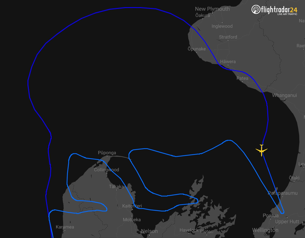 Flight path of the Air New Zealand Koru Care flight in the shape of a Kiwi