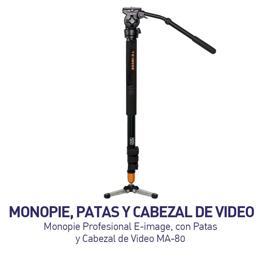 Monopie PROFESIONAL E-image - Con Patas y Cabezal de Video MA-80