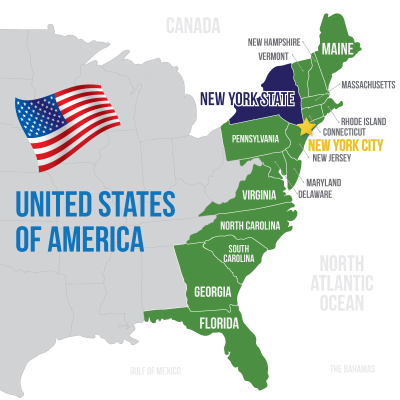 Map of the US Eastern Seaboard