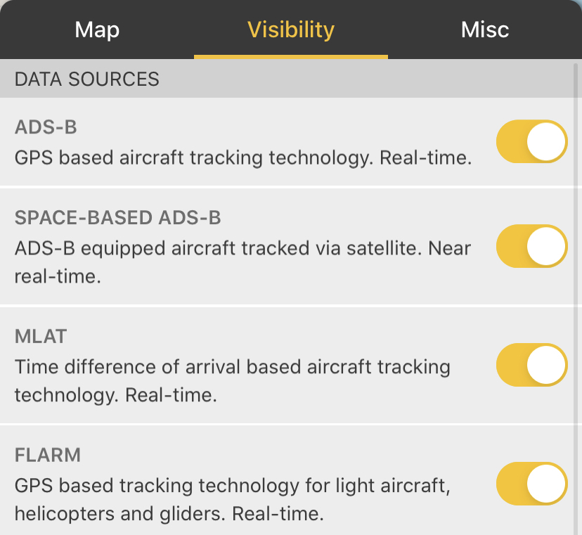 Visibility settings panel in the Flightradar24 app