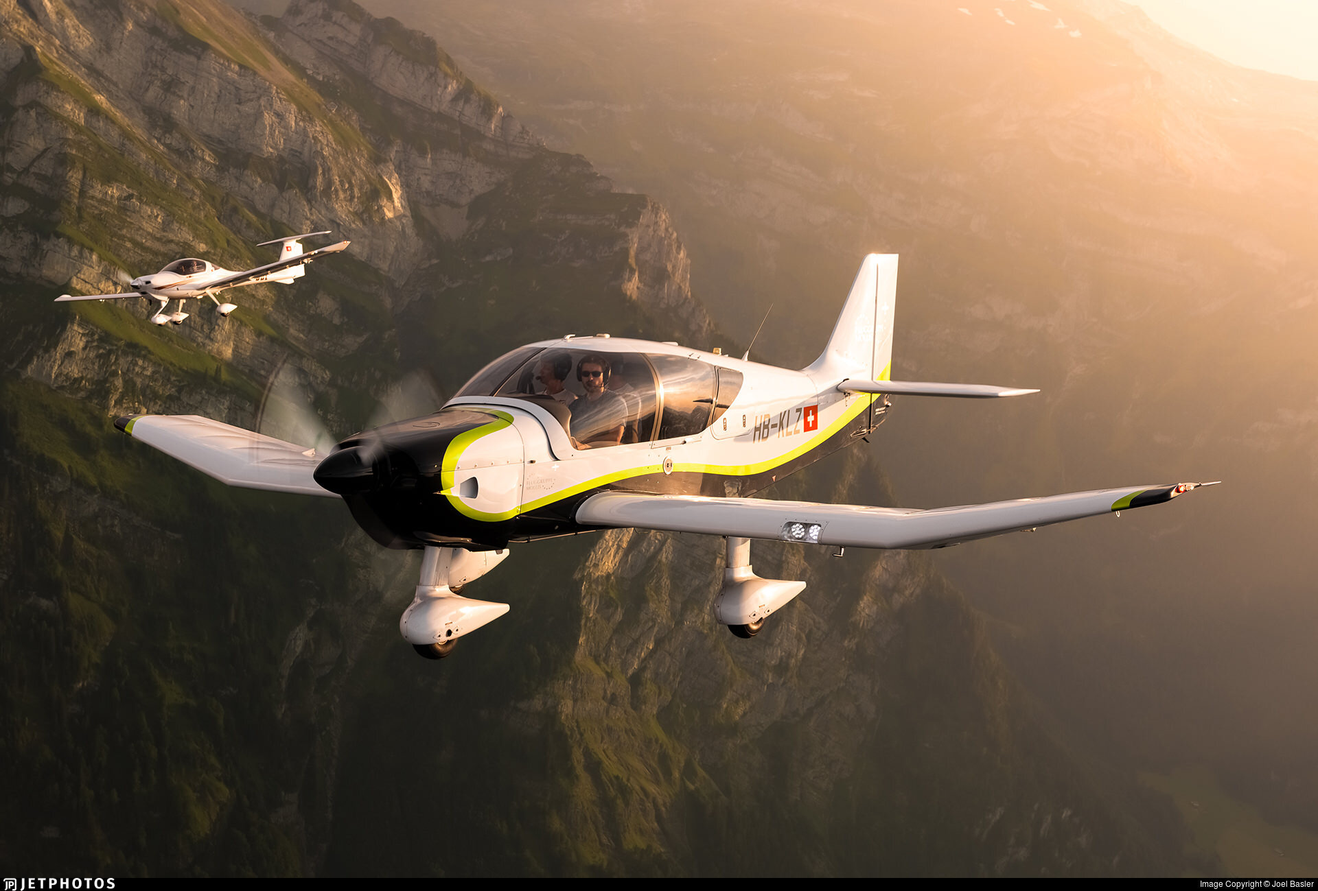 Air-to-air with a Robin DR401/155CDI over Switzerland.