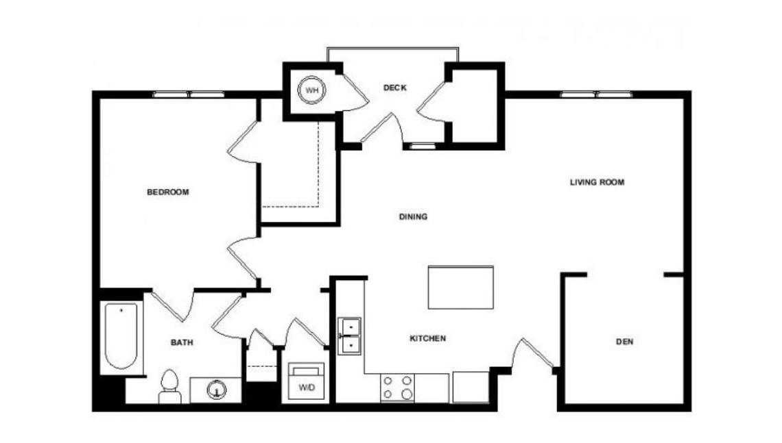 7west one bedroom floorplan with den and deck