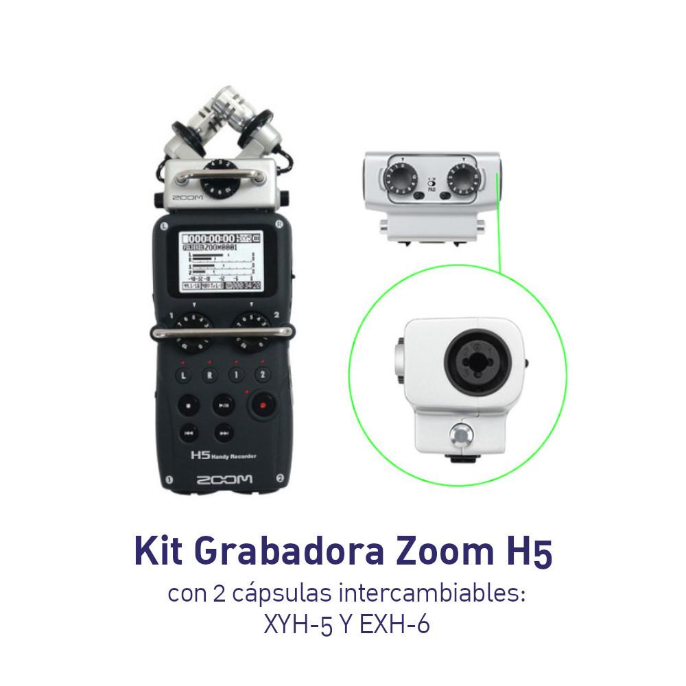 KIT - Grabadora Zoom H5 Con cápsula intercambiable y Capsula EXH-6 con dos puertos XLR adicionales