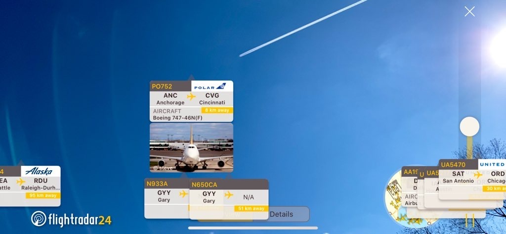 AR View in the Flightradar24 app