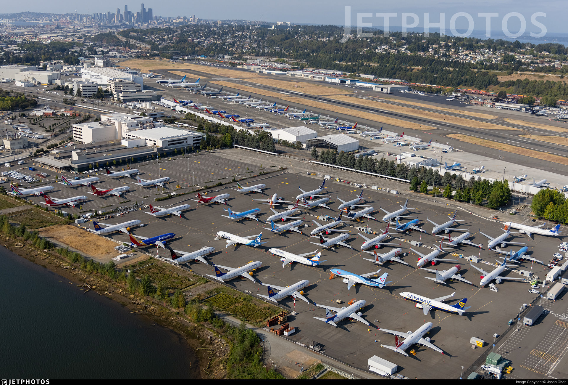 Undelivered Boeing 737 MAX aircraft in storage in Seattle