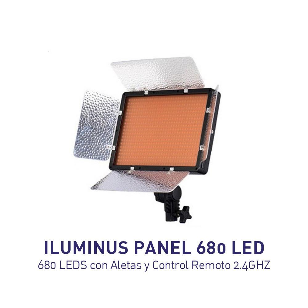 Iluminus - Panel Led 680 LEDS con Aletas y Control Remoto 2.4GHZ