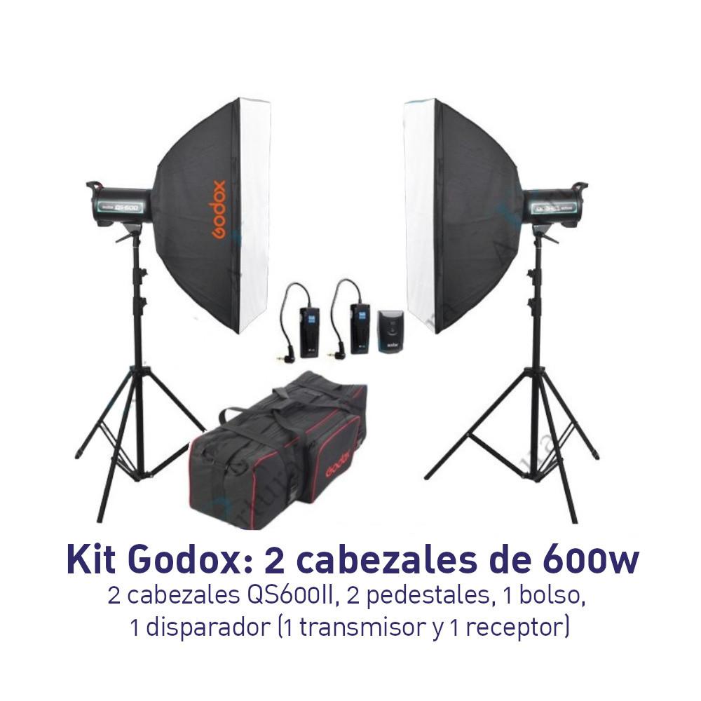 KIT - Iluminación Godox 2 Cabezales de 600W QS-600 II