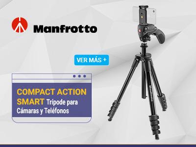 Manfrotto Compact Action Smart Trípode para Cámaras y Teléfonos MKSCOMPACTACNBK